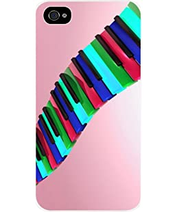 Neon Piano Keys in a Pink Sky Iphone 4 plastic white case - compatible with Iphone 4 4S