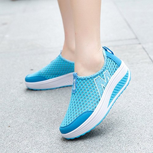 on Toning Blue Sneakers Design M Casual Shoes Walking Mesh Women's Platform Fitness Slip txSCF6cwnq