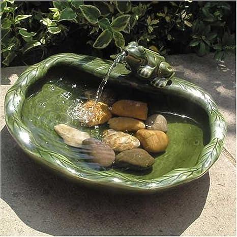 Fuente solar con rana de cerámica: Amazon.es: Jardín