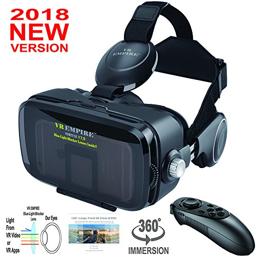 VR Virtual Reaity Headset With VR Remote Anti-Blue-Light Lenses 120° FOV; Stereo Headset 3D Glasses VR Goggles Fit For iPhone Galaxy & All Other 4.0-6.2 inch Cell Phones by VR EMPIRE