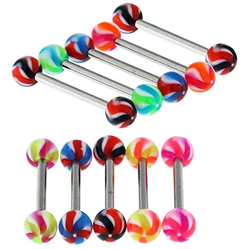 10 Pieces Pack of UV Two Tone Propeller Ball with 14MM Length - 14 Gauge 316L Surgical Steel Straight Barbell Tongue Ring