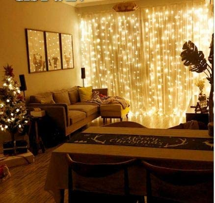 Curtain Light with 8 Modes Control Decoration for Window Home Patio Garden Christmas Indoor Outdoor Decoration, USB Operated, IP65Waterproof, (9.8ft X 6.5ft) (Warm White)