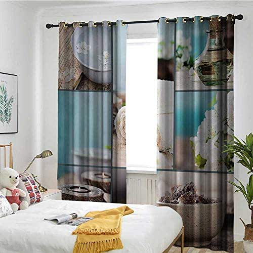 Customized Curtains Trolley Bag Curtain Insulation Board Home Decoration Spa,Far East Close to Your Heart Asian Massage Theme Collage Oils Candles Flowers Print,Blue and White