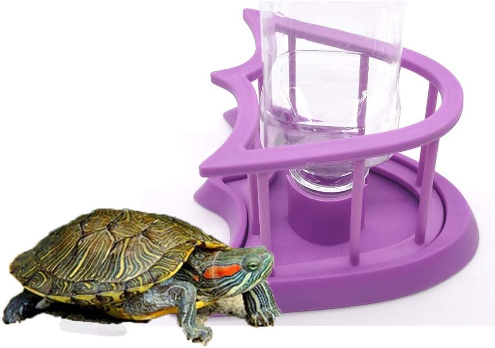 XEOGUIIYA Reptile Food Basin Water Bowl, Automatic Turtle Feeder for Aquarium Water Bowl Pet Dispenser Bottle Feeding Dish, Purple