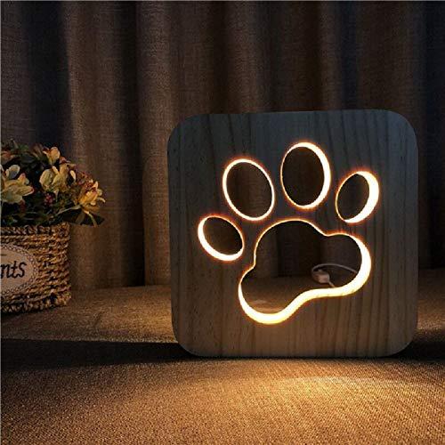 VT BigHome New Wooden Dog Paw 3D Night