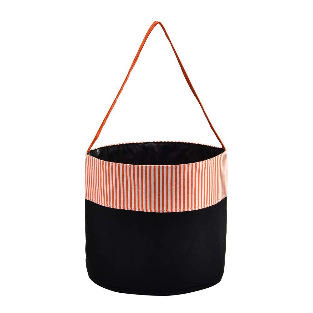 X.Sem Halloween Bucket - 100% Canvas Halloween Candy Basket - Halloween Party Supplies - Trick or Treat Bucket Tote for Kids (Orange Stripes)