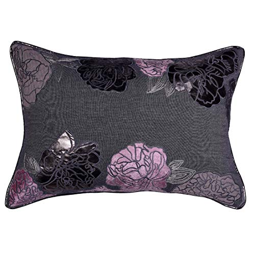 Decozen Decorative Throw Pillow 14×20 in with Insert in 1 Set PU Patchwork for Couch Sofa Bed Living Room Bedroom Indoor Patio