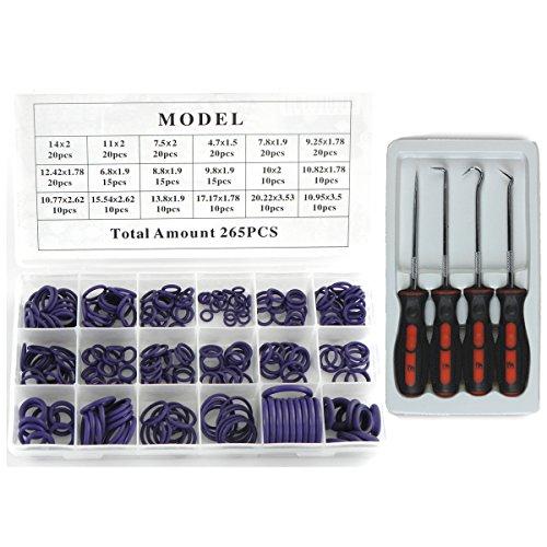 - 4pcs O Ring Seal Hooks Pick Puller Remover Tool with Purple 265pcs O-ring Assortment Set Kit
