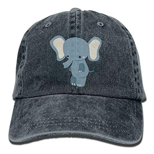 Men Women Jungle Animals Elephant Adjustable Vintage Baseball Caps Washed Cowboy Dyed Denim Hat Unisex,Navy,One Size