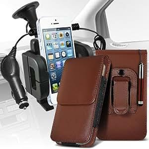 Samsung Galaxy Pocket Neo S55310 protección pu estuche de cuero de la correa de la pistolera del tirón de la cubierta del sostenedor del caso con el lápiz óptico retráctil, Micro 12v cargador de coche USB y soporte universal de la succión del parabrisas del coche Vent Cuna Brown por Spyrox