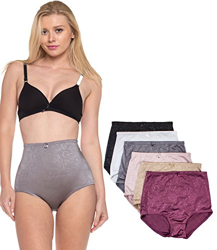 Barbra's 6 Pack Women's High-Waist Tummy Control Girdle Panties (XX-Large, Silky Flower)