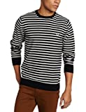 Fred Perry Men's Block Breton Stripe Crew Neck Sweater, Navy, Large