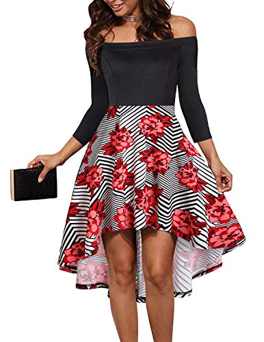 LEORAY Womens Off The Shoulder Skater High Low