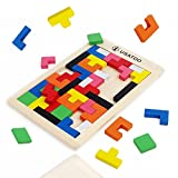 USATDD Wooden Tetris Puzzle Tangram Jigsaw Brain Teasers Toy Building Blocks Game Colorful Wood Puzzles Box Educational Gift For Kids 40 Pcs