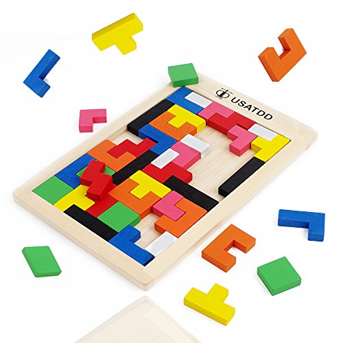 (USATDD Wooden Tetris Puzzle Tangram Jigsaw Brain Teasers Toy Building Blocks Game Colorful Wood Puzzles Box Intelligence Educational Gift for Kids 40 Pcs)