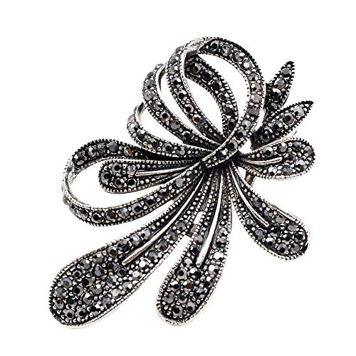 ne Black Flower Brooches Women Vintage Antique Silver Brooch Pin Elegant Exquisite Broches New Year Gift ()