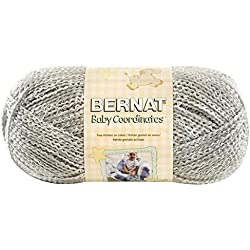 Bernat 16604848046 Baby Coordinates Solids Yarn - (3) Light Gauge - 5oz - Soft Grey - Machine Wash & Dry