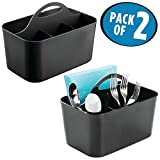 mDesign Plastic Cutlery Storage Organizer Caddy Bin - Tote with Handle - Kitchen Cabinet or Pantry - Basket Organizer for Forks, Knives, Spoons, Napkins - Indoor or Outdoor Use - 2 Pack, Black