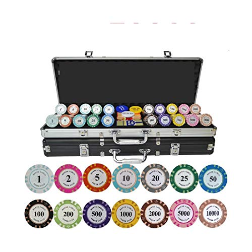 NuoEn Texas Hold'em 14g Poker Chips Set Blackjack Set with Chips Dice Style w/Aluminum Case for Texas Holdem, Blackjack, Gambling Chips Set ( Size : 1000chip Set -