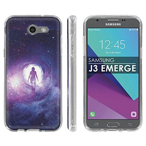 Samsung Galaxy Emerge [2017] J327 J317 Mission Eclipse | Luna Pro Silicone Rubber Gel Phone Cover [Case86] [Clear] Gel Gummy Phone Case - [Astral Space] for Galaxy SGH-I317 [5