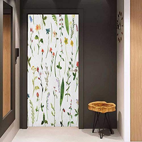 Onefzc Door Sticker Mural Watercolor Flower Different Kinds of Flowers with Herbs Weeds Plants and Earth Elements WallStickers W31 x H79 Multicolor