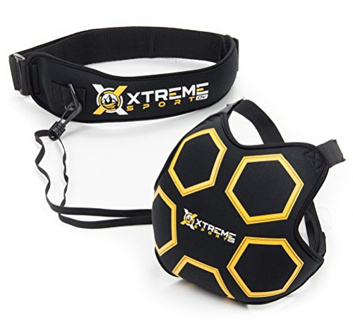 Xtreme Sport DV Premium Soccer Kick Trainer, Hands Free Solo Football Agility Training, Ball Return and Soccer Rebounder. Fits ball size 3, 4, 5 (Pro Throwing Star)