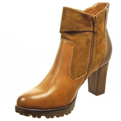 Angkorly - Zapatillas de Moda Botines low boots bimaterial mujer piel de serpiente tachonado Talón Tacón ancho alto 8 CM - plantilla Forrada de Piel - Camel