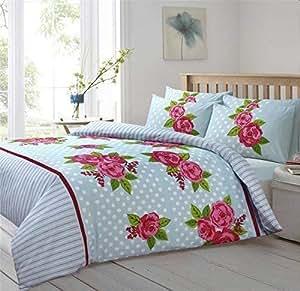 Lunares flores Floral líneas color azul rosa y blanco tamaño King Size Funda de edredón
