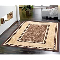 "Ottomanson Ottohome Collection Contemporary Bordered Design Modern Area Rug, 8'2"" W x 9'10"" L with Non-Skid Rubber Backing, Chocolate"