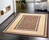 Ottomanson Ottohome Collection Contemporary Bordered Design Non-Skid (Non-Slip) Rubber Backing Modern Area Rug, 8'2'' X 9'10'', Chocolate Brown