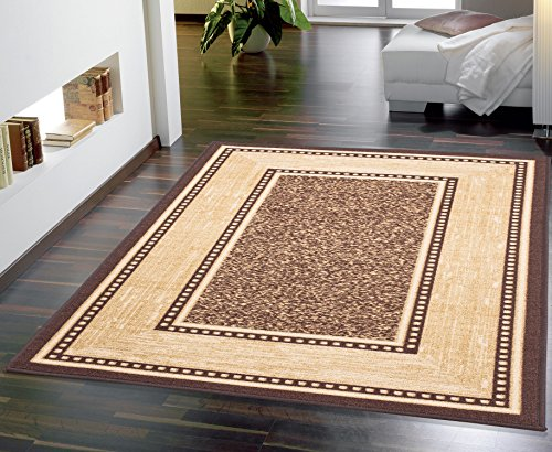 "OTTOMANSON Ottohome Collection Contemporary Bordered Design Modern Area Rug, 8'2""W x 9'10""L with Non-Skid Rubber Backing, 8'2"" x 9'10"", Chocolate Brown"