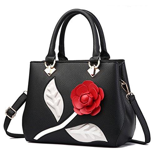 Noir Sacs 3d Fleur Femmes Main Beginning Pour À Élégantes Avec Épaules Rouge Auspicious nwHqxpaa
