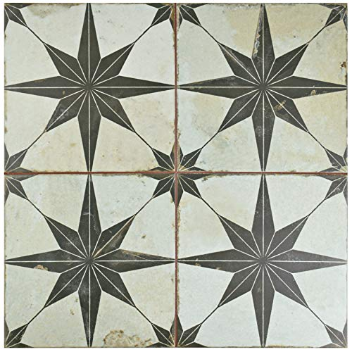 SomerTile FPESTRN Reyes Astre Ceramic Floor and Wall Tile, 17.625'' x 17.625'', Cream/Beige/Black by SOMERTILE