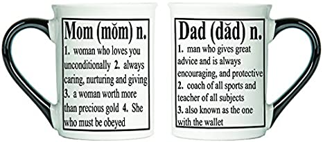 amazon com tumbleweed mom and dad definition mugs set of two mugs