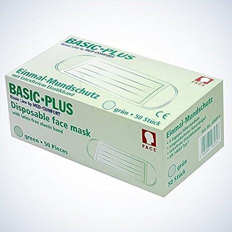 AMPRI Basic Plus–Protector bucal, Verde, 3capas (02600de G), 50unidades)