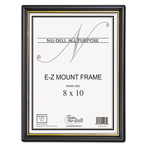 Nudell 11800 EZ Mount Document Frame/Accent, Plastic, 8 x 10, Black/Gold