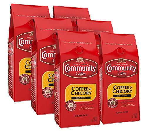 Community Coffee and Chicory Medium Dark Roast Premium Ground 12 Oz Bag (6 Pack), Full Body Rich Flavorful Taste, 100% Select Arabica Beans - Roasted New Coffee Orleans