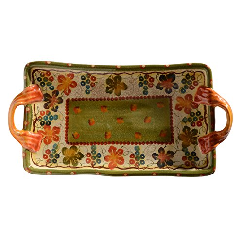 Italian Dinnerware - Tray with Handles - Handmade in Italy from our Terre Di Chianti Collection (Tray Chianti)