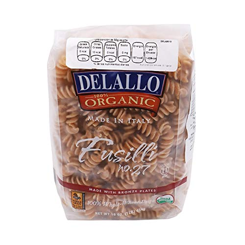 DeLallo Organic Whole Wheat Fusilli #27, 16-Ounce Units (Pack of 16) ()