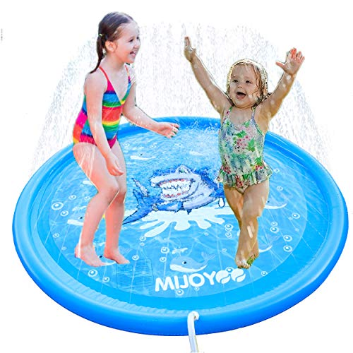 MIJOYEE Splash Pad, 68 inches Splash Mat, Outdoor Water Play Sprinklers Summer Toys Fun for Infants Toddlers and Kids in Backyard Playing (Buie Shark) (For Backyard Toddlers Play)