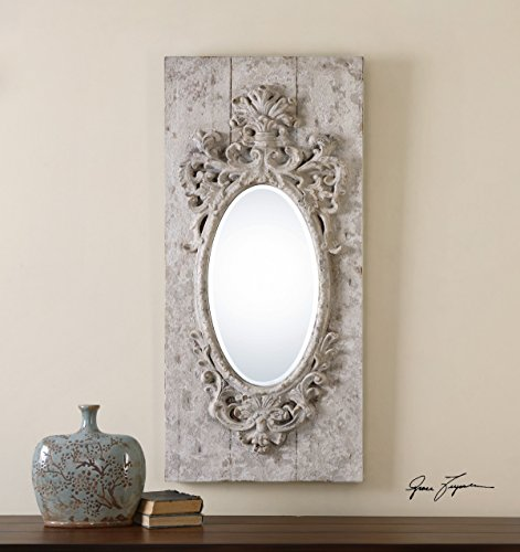 Ornate Distressed Ivory Wood Wall Mirror | Baroque Victorian Oval