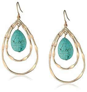 """Panacea Double Teardrop Turquoise Earrings, 2"""""""