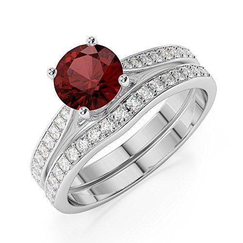 G-H/VS 1CT Coupe ronde sertie de diamants Grenat et diamants blancs et bague de fiançailles en platine 950Agdr-2053