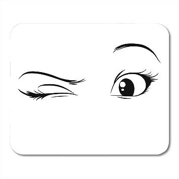 Amazon Com Mouse Pads Beautiful Black Blink Anime Eyes On White