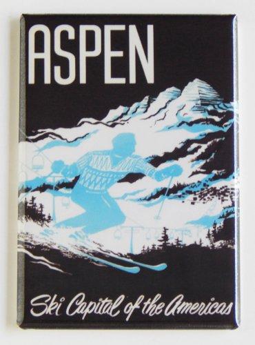 Aspen Ski Posters - Ski Aspen Travel Poster Fridge Magnet (2 x 3 inches)
