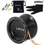 Magic Yoyo Ball V6 Locus Space Yoyo Aluminum Metal Responsive Yoyos Ball Bearing for Kids Beginners Learner with Bag Glove 5 Strings Blac
