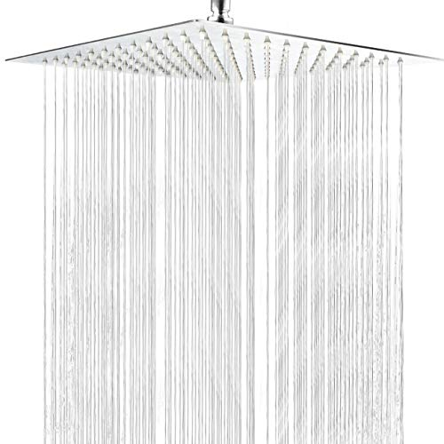 Waterfall Head - Shower Head,Waterfall Showerhead High Pressure Rainfall Shower Head with Polish Chrome Finish, Ultra Thin with Silicone Nozzle,Durable & Easy to Install