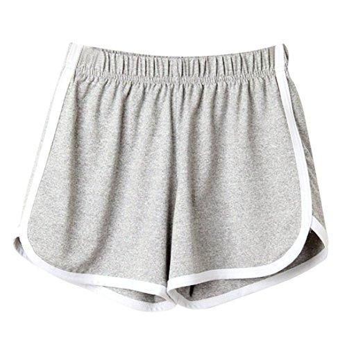 Clearance! Women Shorts JJLOVER Solid Running Yoga Sport Hot Shorts Elastic Waist Summer Casual Fashion Short Pants (Gray, M) (Mma Canada Shorts)