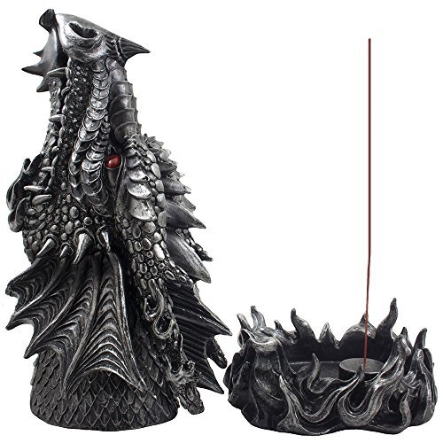 Mythical Fire Breathing Dragon Incense Holder & Burner Combo Statue for Sticks or Cones with Decorative Display Stand of Flames As Gothic Home Decor Aromatherapy Sculptures and Medieval Fantasy Gifts
