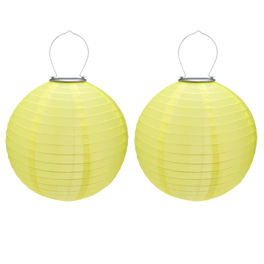 uxcell 2 Packs Yellow 10'' Solar Powered Lanterns Hanging Solar Lamps for Garden